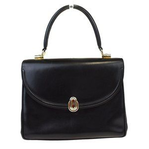 GUCCI Logo Hand Bag Leather Black Gold-tone Meade